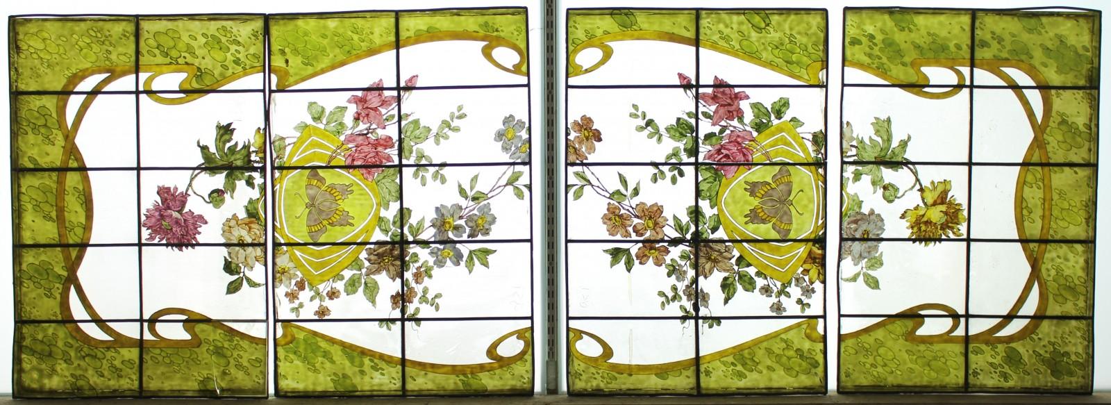 Decor Art Nouveau Aux Fleurs Et Papillons Vitraux Anciens 1850